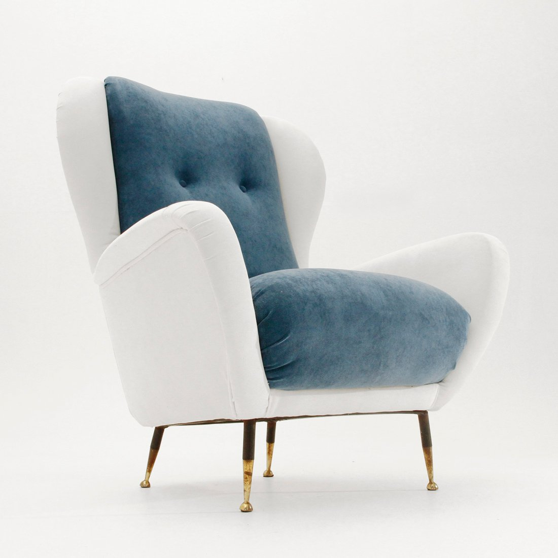 italian midcentury white and blue velvet armchair 1950s - Blue Velvet Chair