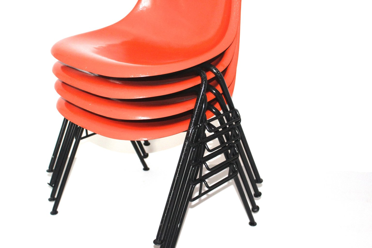 Red DSS-N Side Chairs by Charles & Ray Eames for Herman Miller, 1950s, Set of 4 for sale at Pamono