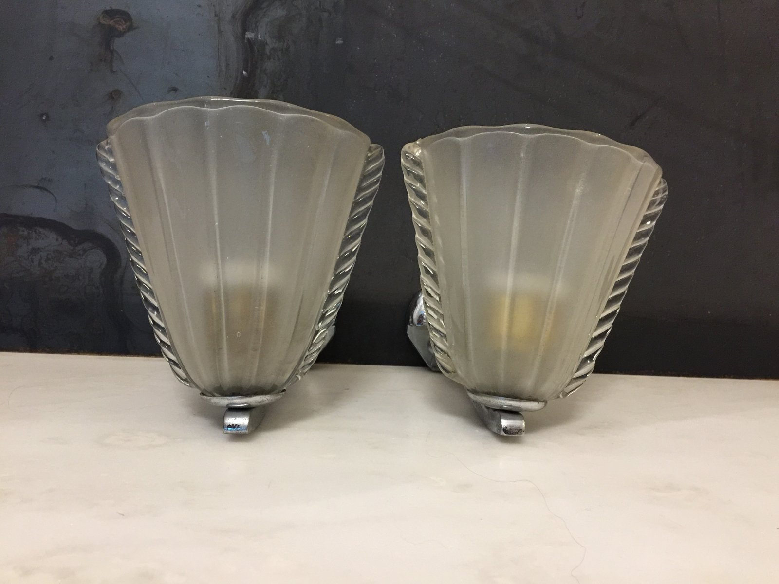 Italian Art Deco Wall Sconces from Venini Set of 2 for sale at Pamono