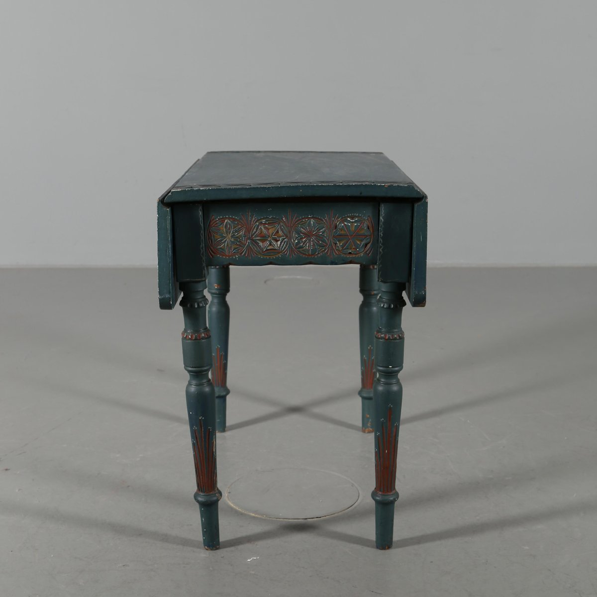 Antique Blue Console Table With Extension Leaves, 1780s