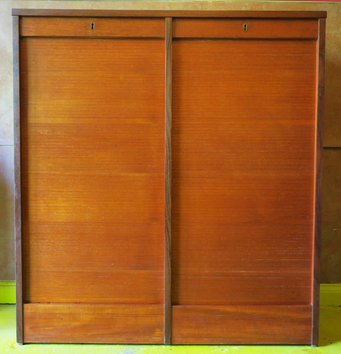 Vintage tambour teak double filing cabinet with sliding for Sliding doors for sale