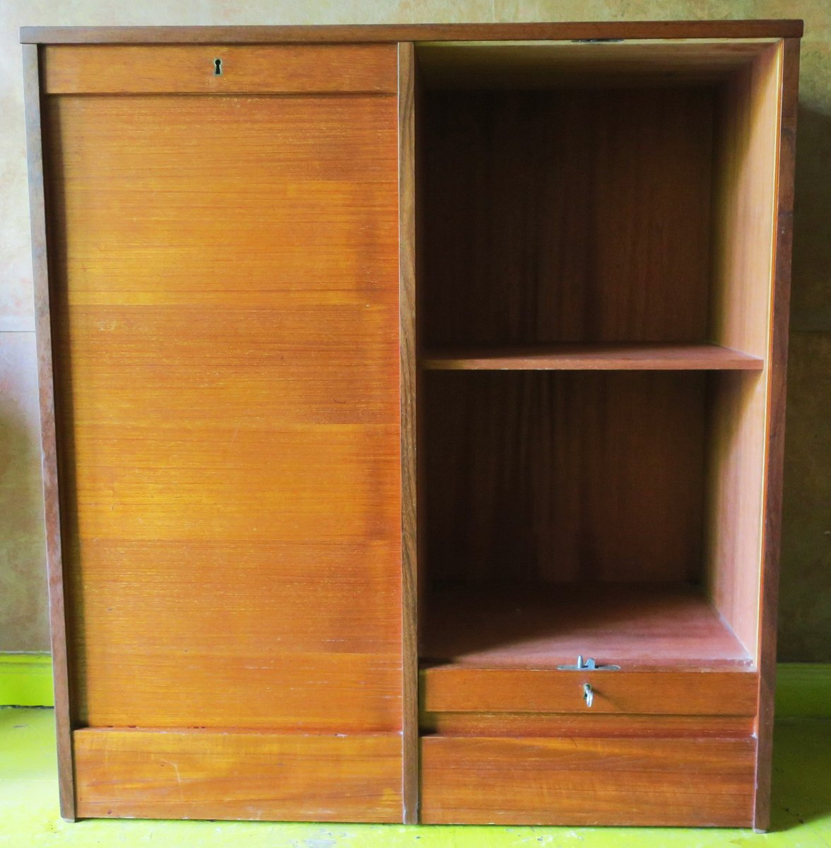 vintage tambour teak double filing cabinet with sliding doors 1960s for sale at pamono