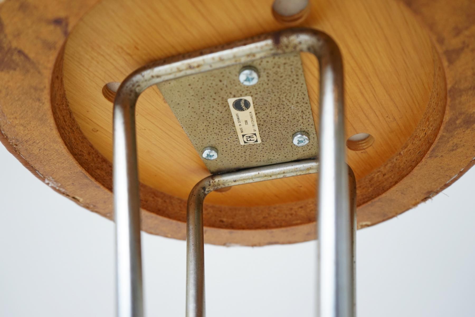 Vintage barhocker aus leder von piet hein f r fritz hansen for Barhocker vintage leder