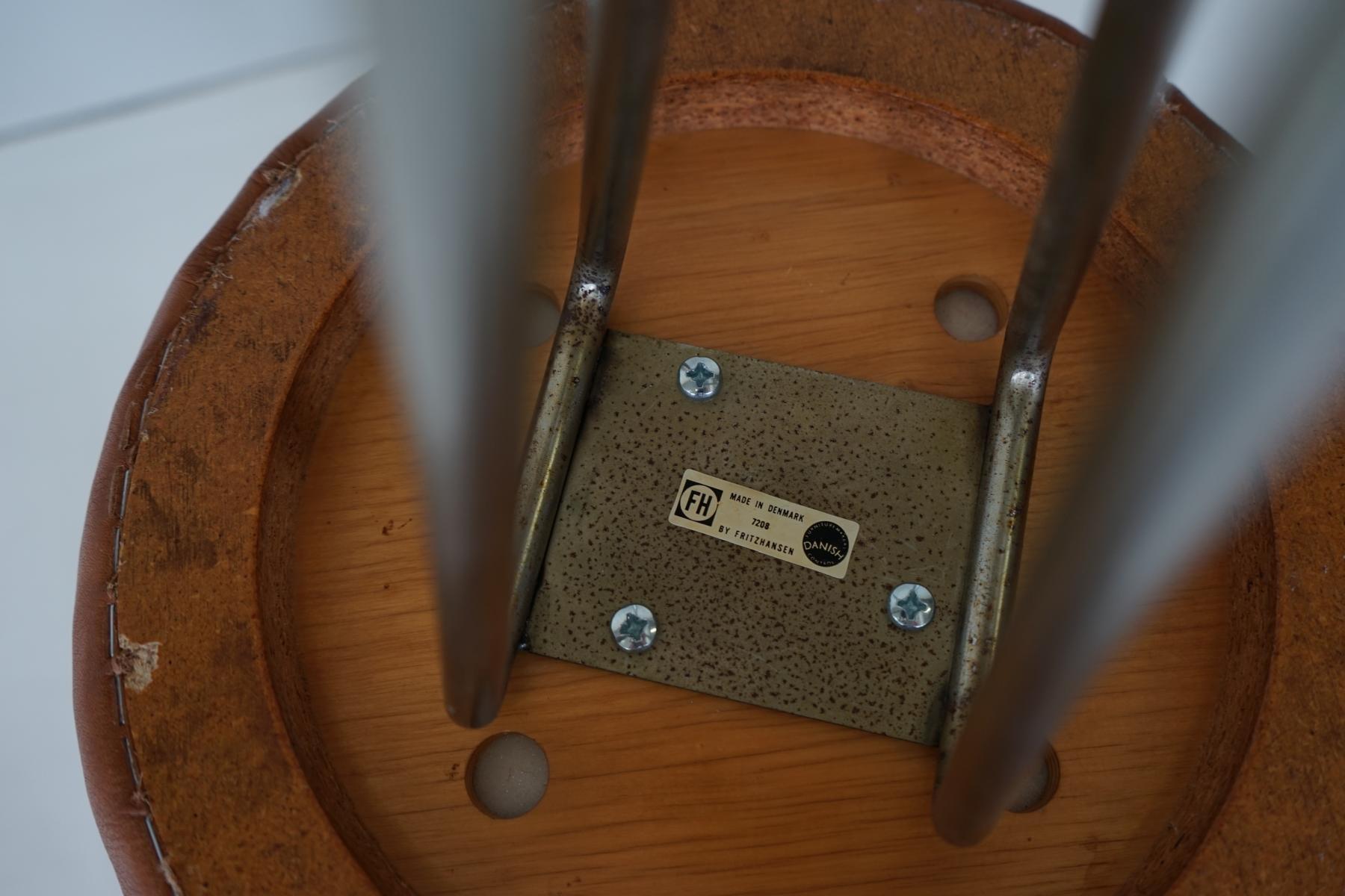 Vintage barhocker aus leder von piet hein f r fritz hansen for Barhocker aus leder
