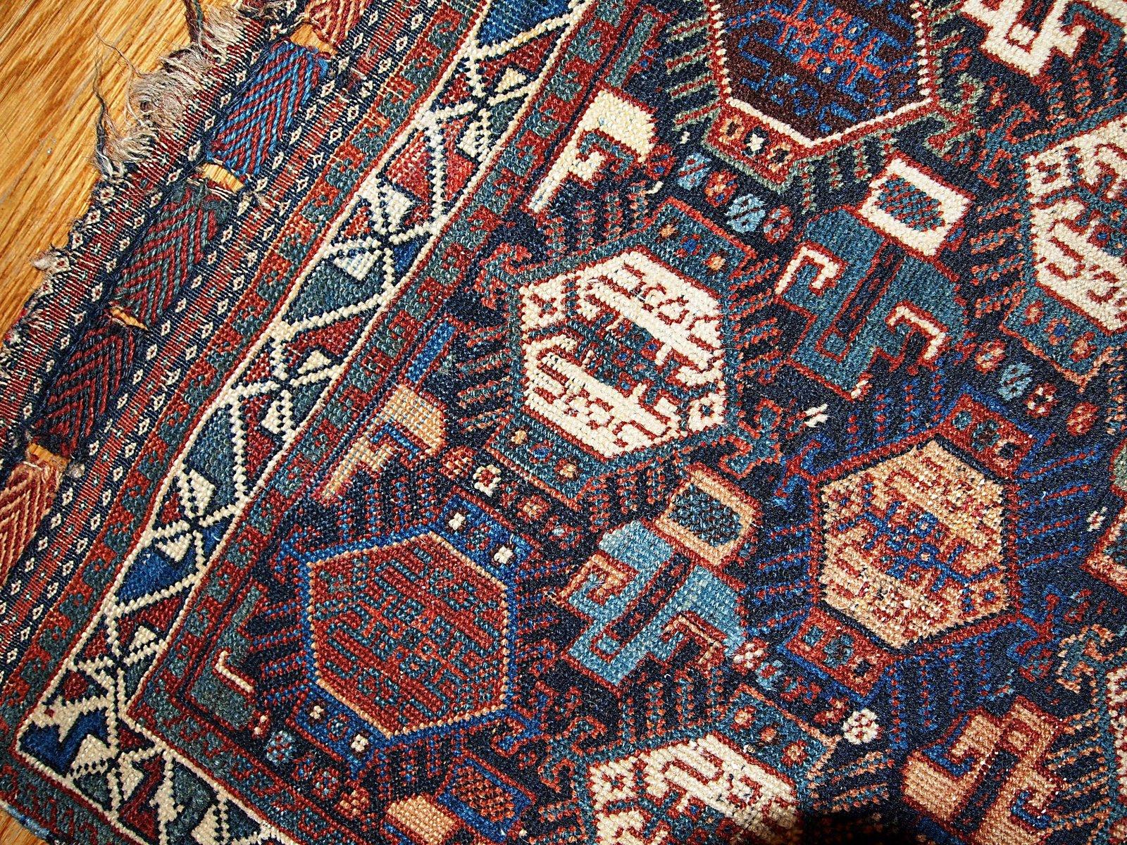 Antiker Handgeknüpfter Persischer Khamseh Teppich, 1880er