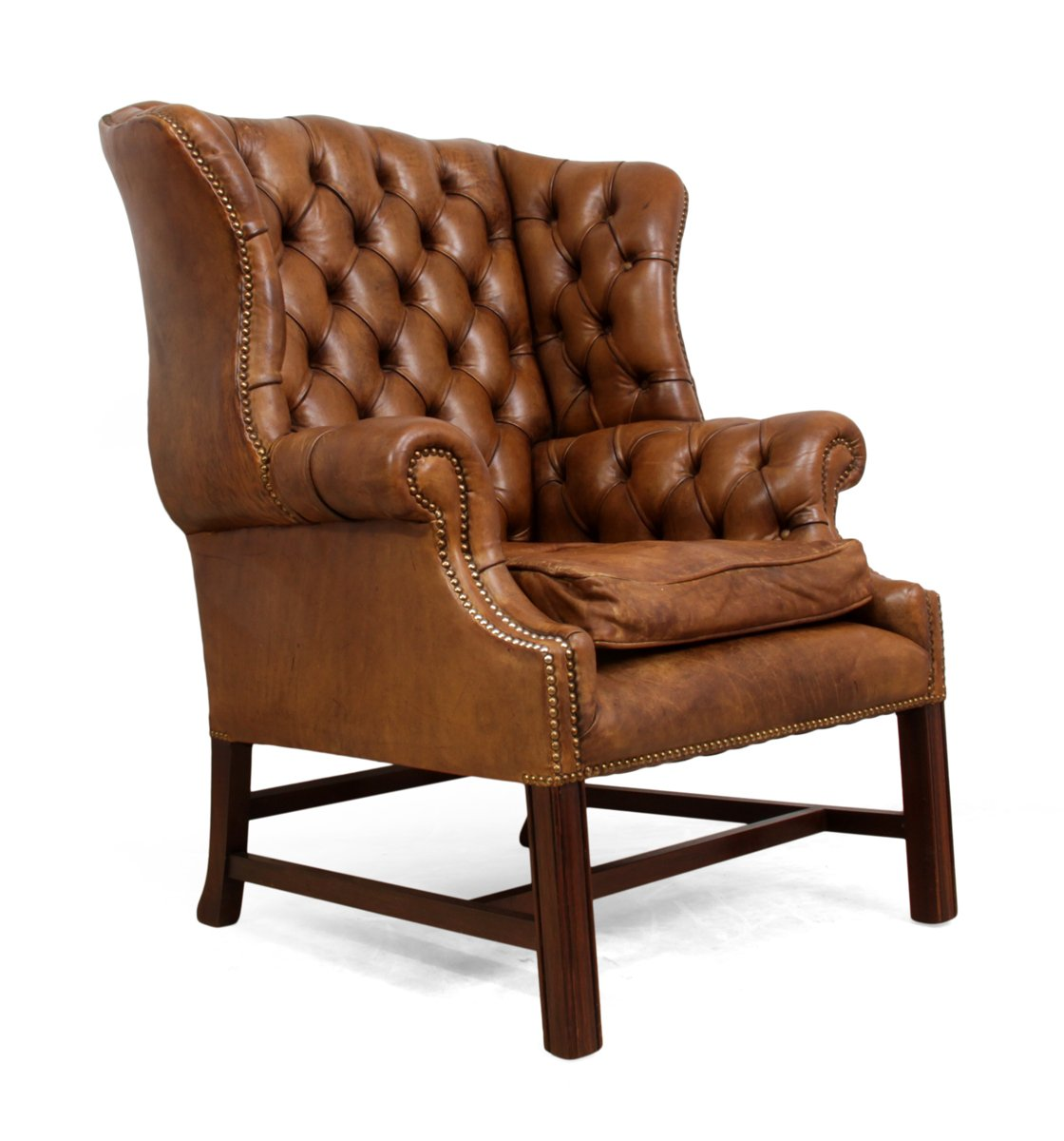mid century leather wingback chair for sale at pamono