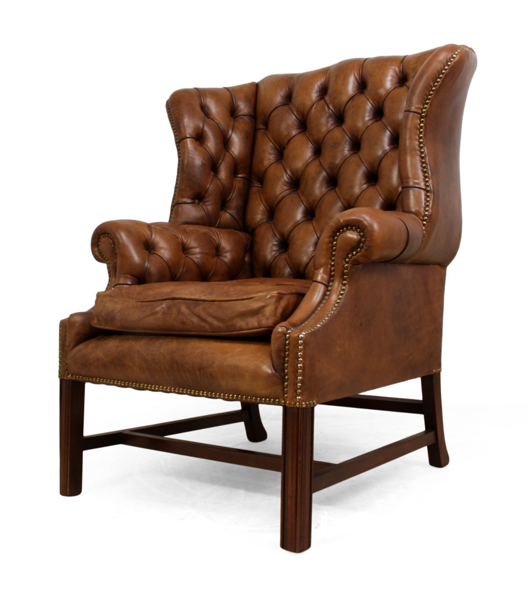 Mid Century Leather Wingback Chair