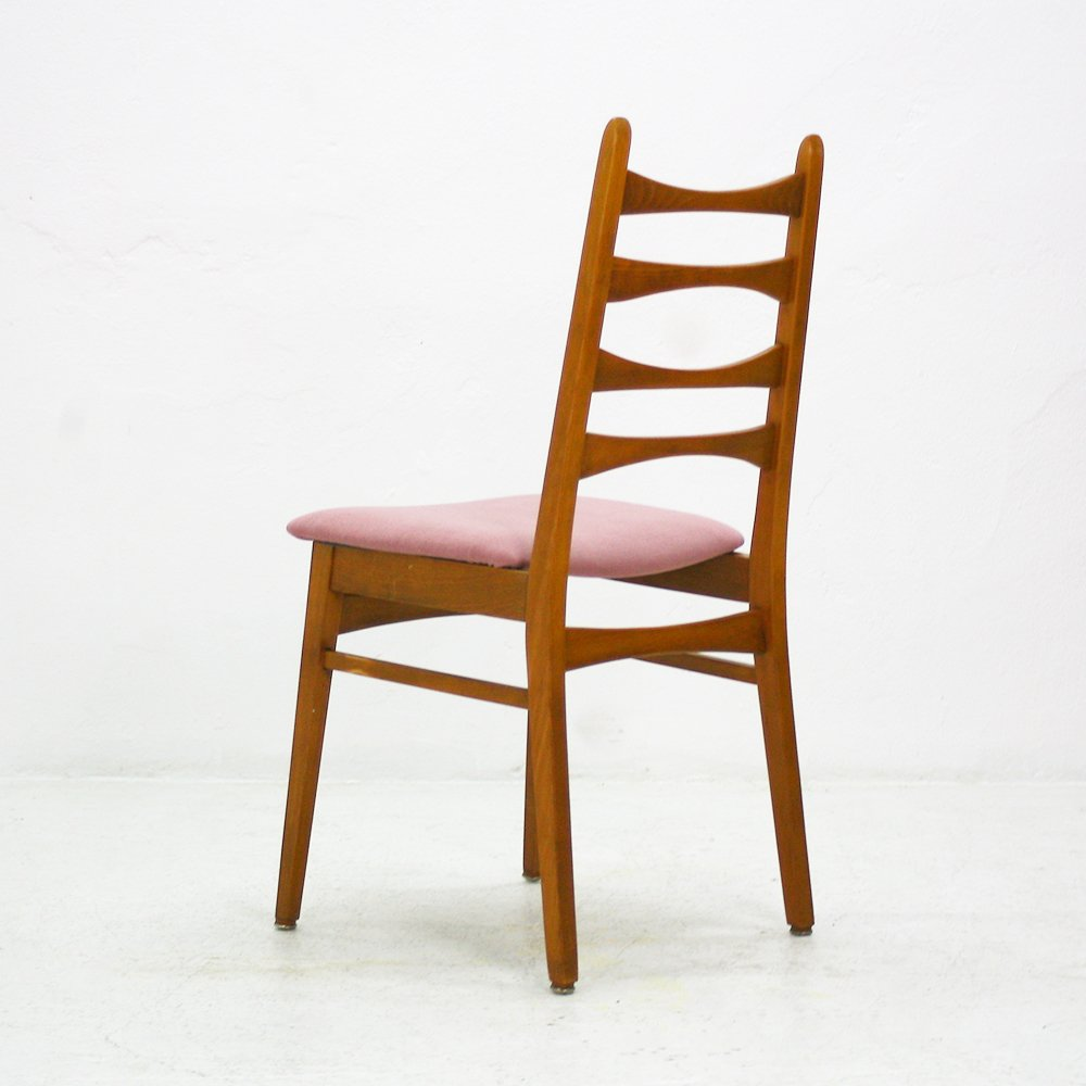 Dining chairs with pink upholstery 1950s set of 4 for for Upholstered dining chairs for sale