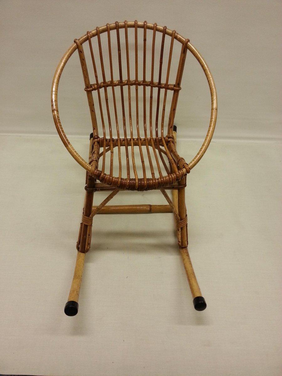 Vintage rattan rocking chair - Children S Rattan Rocking Chair 1960s