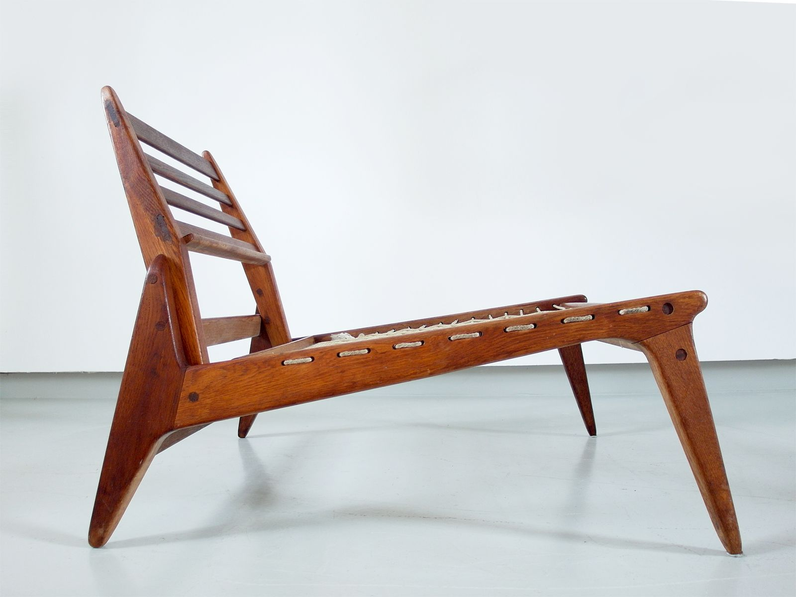 Sculptural Black Leather & Oak Hunting Chairs 1950s Set of 2 for