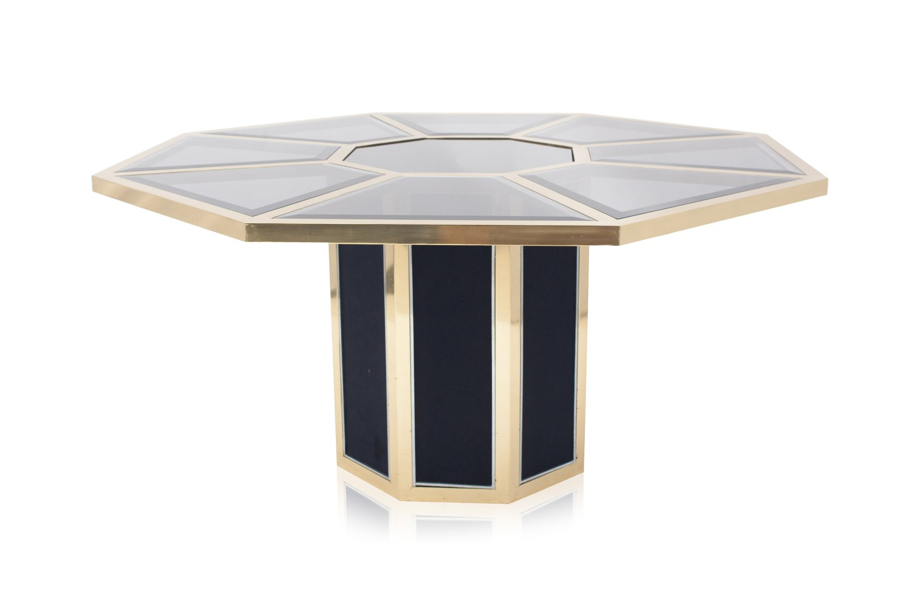 Octagonal Brass Dining Table from Roche Bobois 1970s for sale at