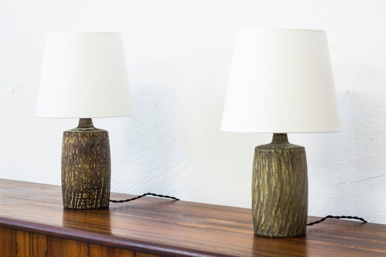 ceramic table lamps by gunnar nylund for rrstrand 1950s set of 2