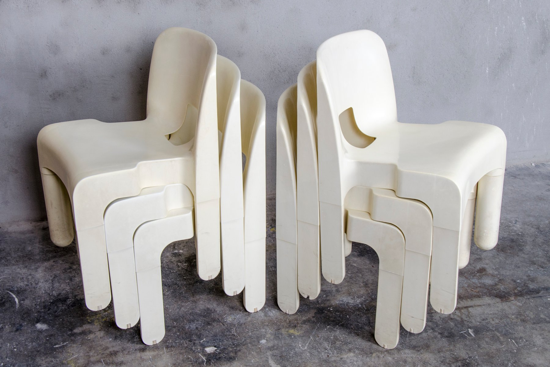 4867 Universale Plastic Chairs by Joe Colombo for Kartell 1960s