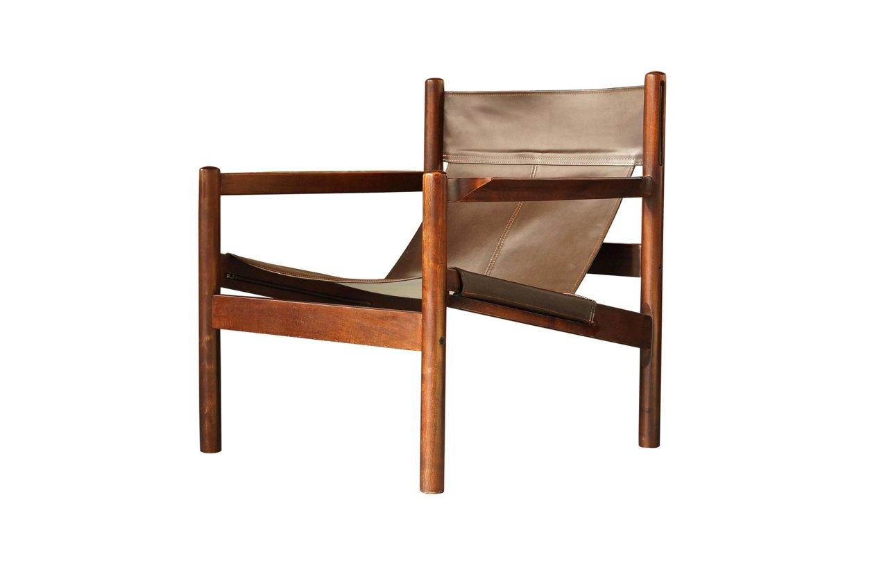chaise safari roxinho en cuir marron par michel arnoult 1960s en vente sur pamono. Black Bedroom Furniture Sets. Home Design Ideas