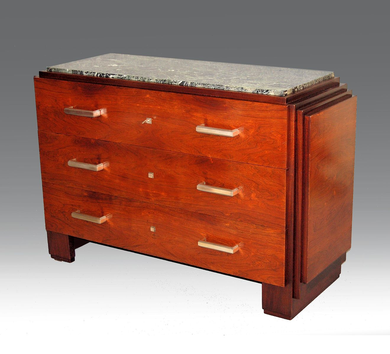 Art deco commode in rosewood and mahogany from mercier for Commode miroir art deco
