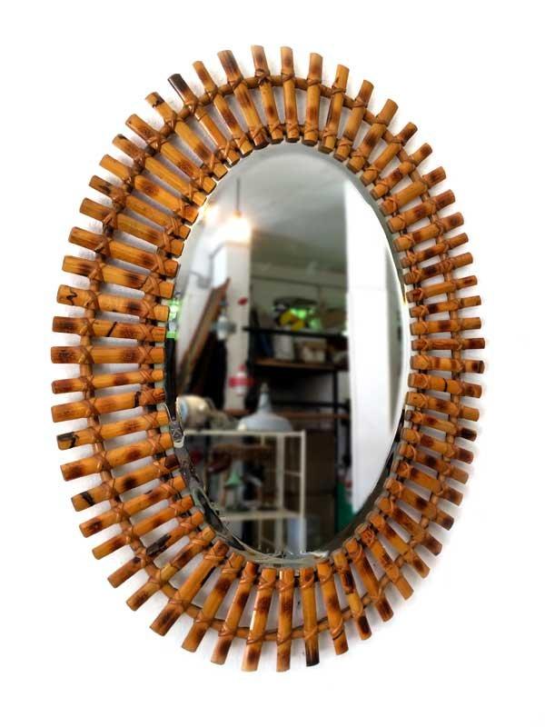 italienischer ovaler spiegel mit bambusrahmen 1960er bei. Black Bedroom Furniture Sets. Home Design Ideas