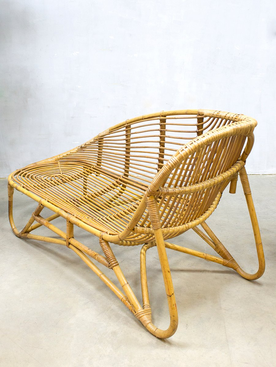 Rattan chaise longue from rohe noordwolde 1960s for sale for Chaise longue rattan