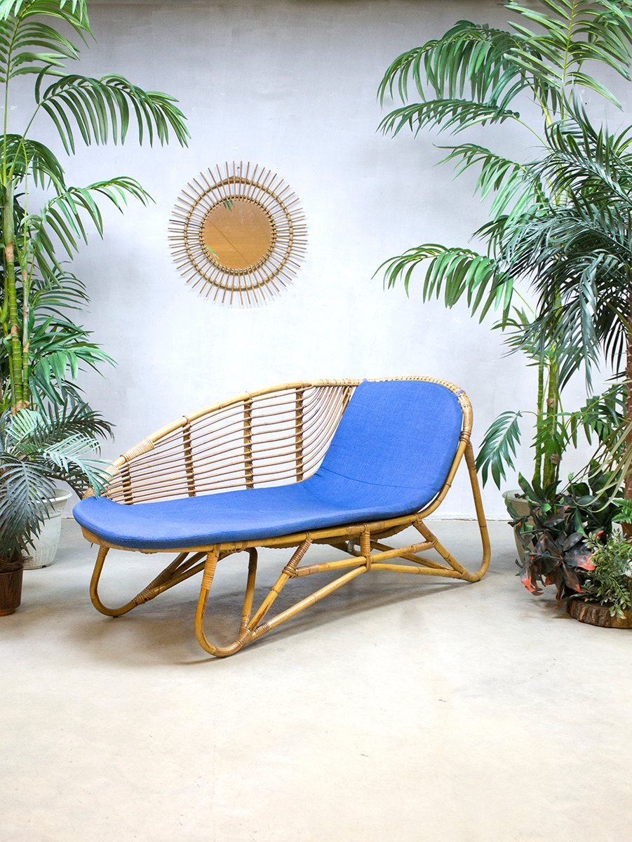 Rattan chaise longue from rohe noordwolde 1960s for sale for Chaise longue 2 personnes