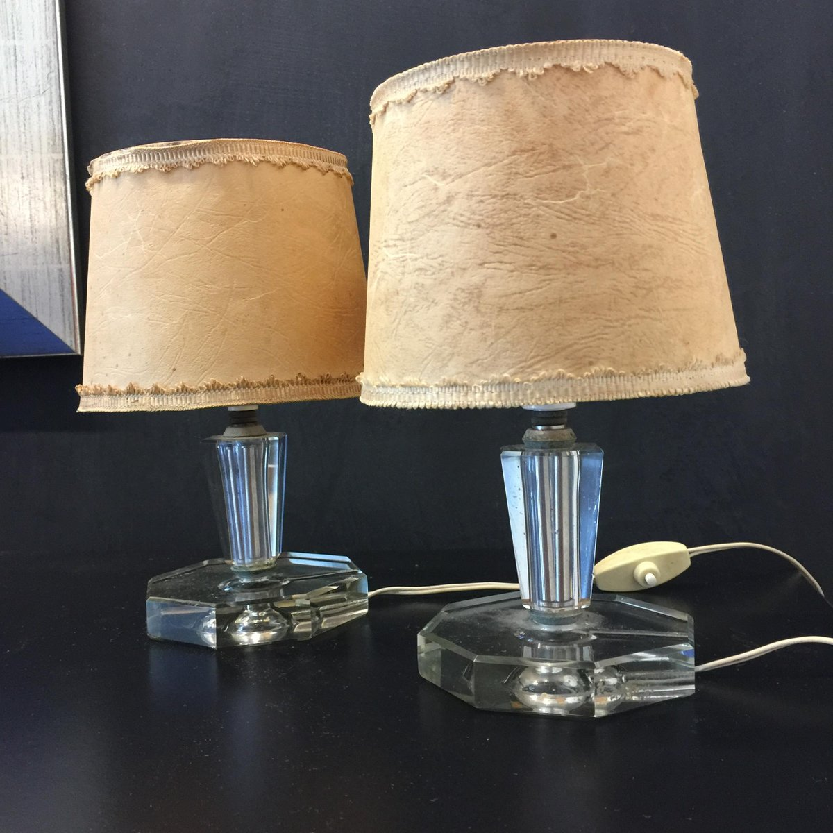 Vintage Italian Glass Table Lamps from Cristal Art 1950s Set of