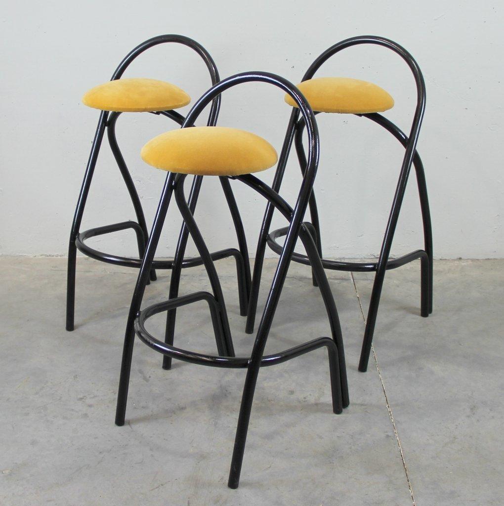 Italienische Vintage Barhocker Aus Eisen 3er Set Bei