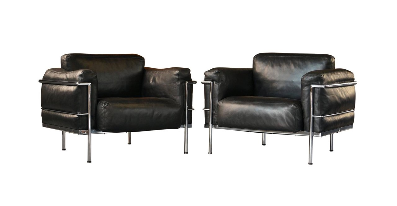 vintage grand confort lc3 lounge chairs by le corbusier p jeanneret u0026 c perriand for alivar set of 2