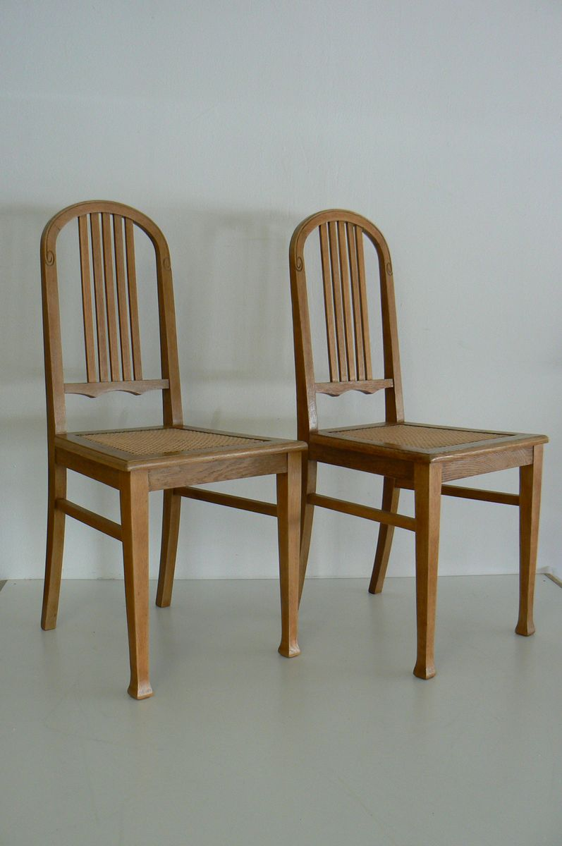 German Antique Oak Dining Chairs, Set of 2 - German Antique Oak Dining Chairs, Set Of 2 For Sale At Pamono