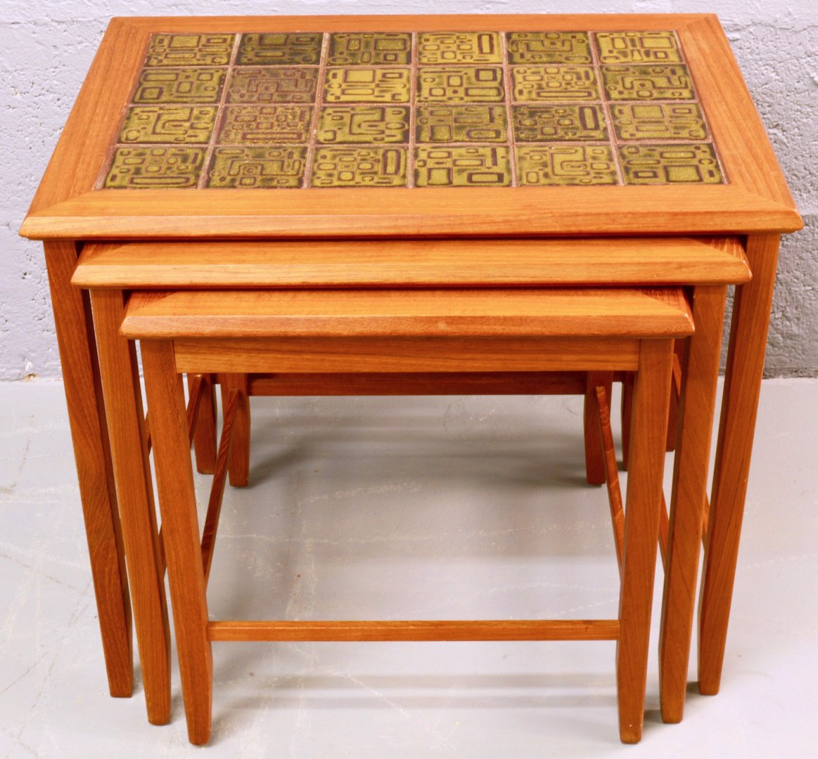 Mid Century Nest Of Teak And Ceramic Tile Coffee Tables
