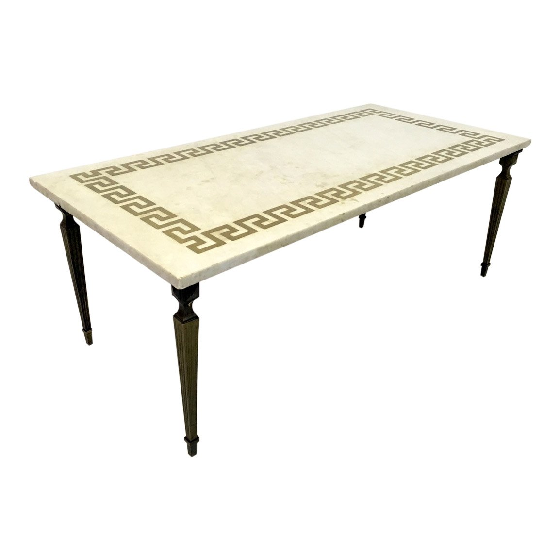 White Marble Brass Coffee Table 1950s For Sale At Pamono