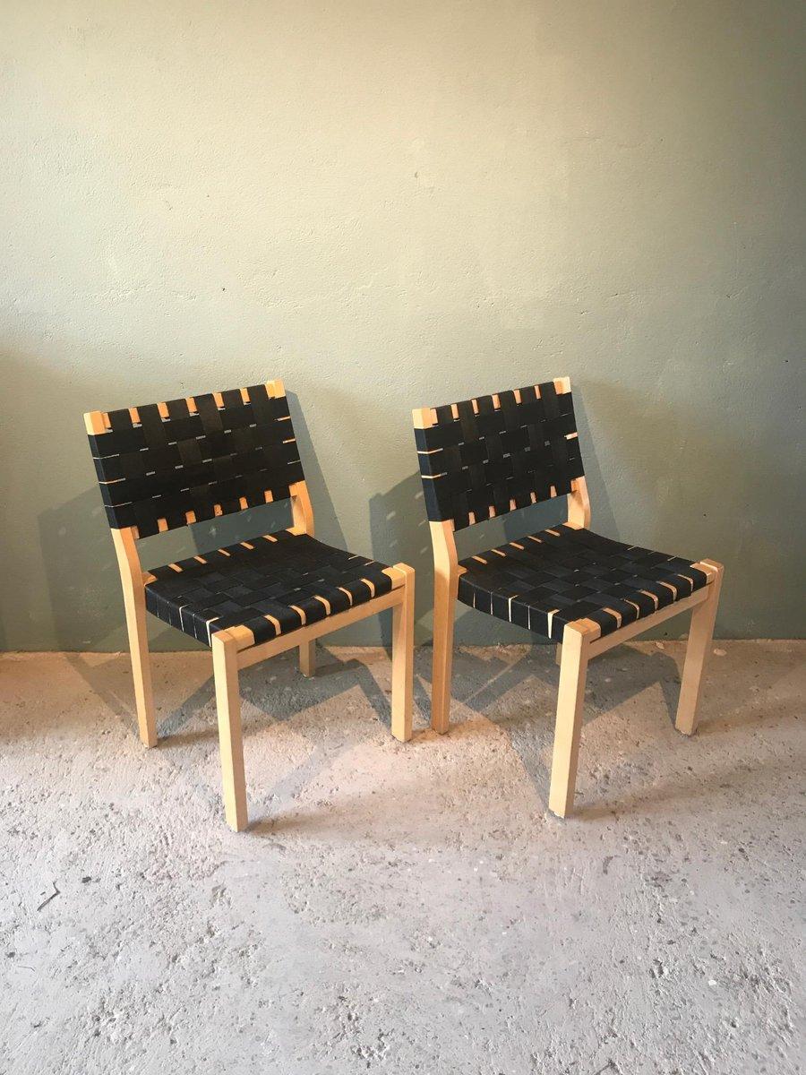 Vintage model 611 chairs by alvar aalto for artek set of for Chaise alvar aalto
