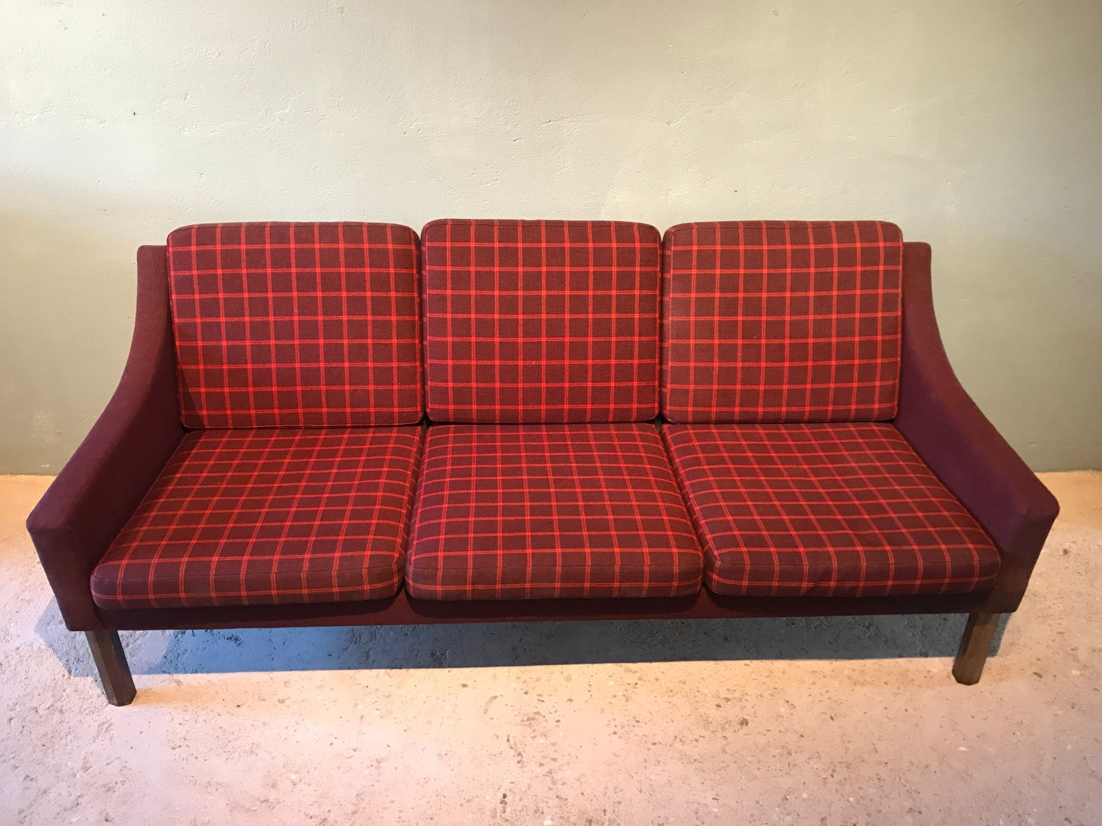 Danish Teak Red Wool Sofa 1960s For Sale At Pamono