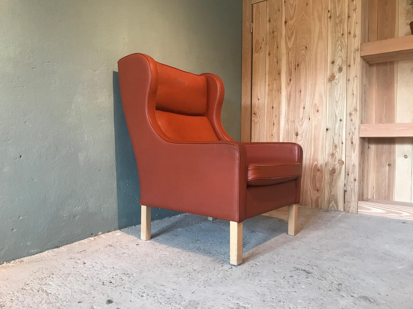 d nischer ledersessel in farbe cognac bei pamono kaufen. Black Bedroom Furniture Sets. Home Design Ideas