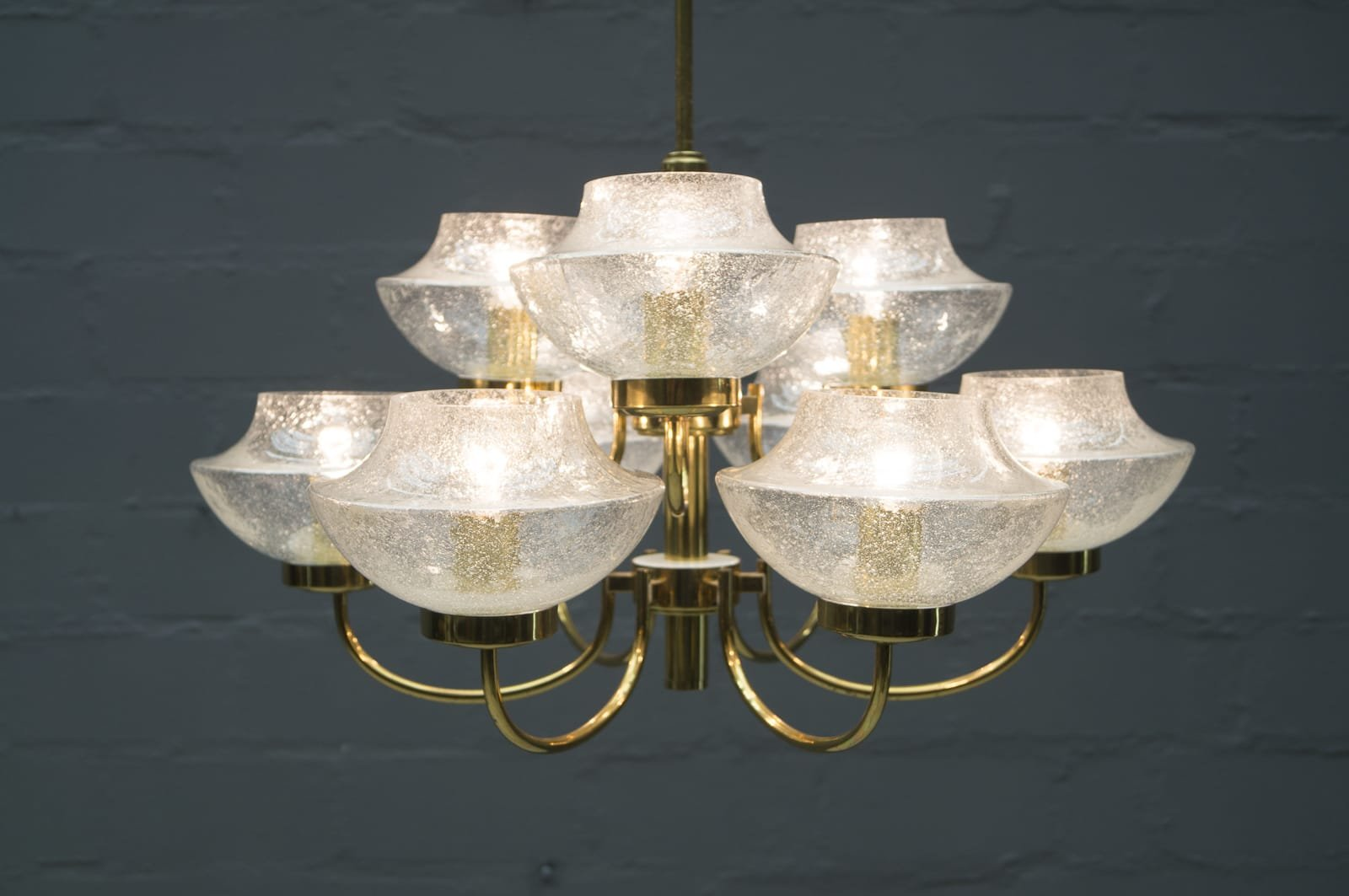 Vintage Glass And Brass Chandelier With Nine Heads 1960s