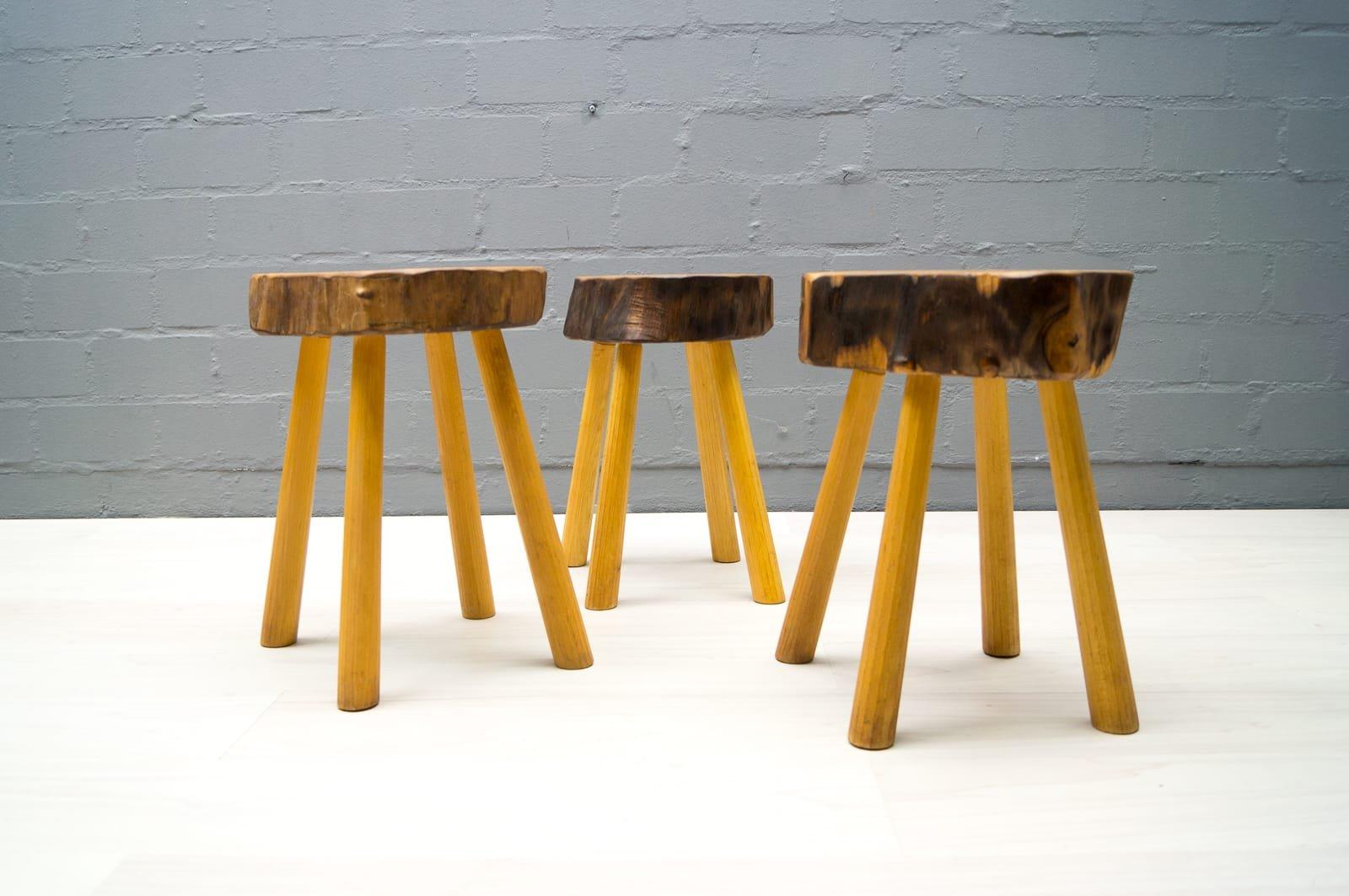 franz sische vintage hocker aus holz 1960er 3er set bei. Black Bedroom Furniture Sets. Home Design Ideas