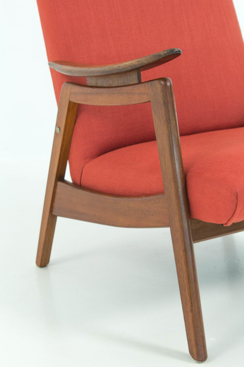 Mid Century Modern Red High Back Chairs 1960s Set Of 2