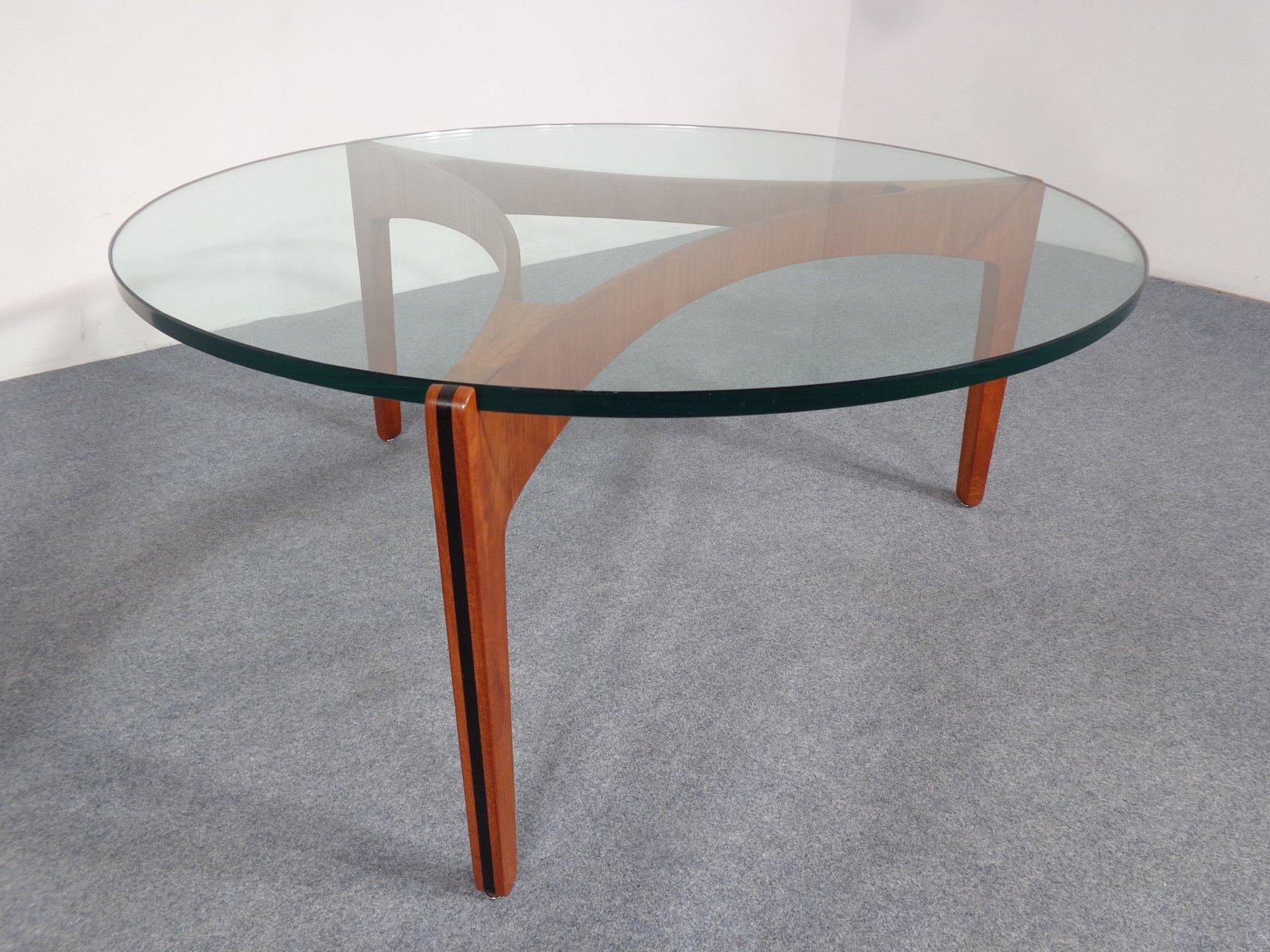 Table basse en teck et verre par sven ellekaer pour - Table basse teck et verre ...