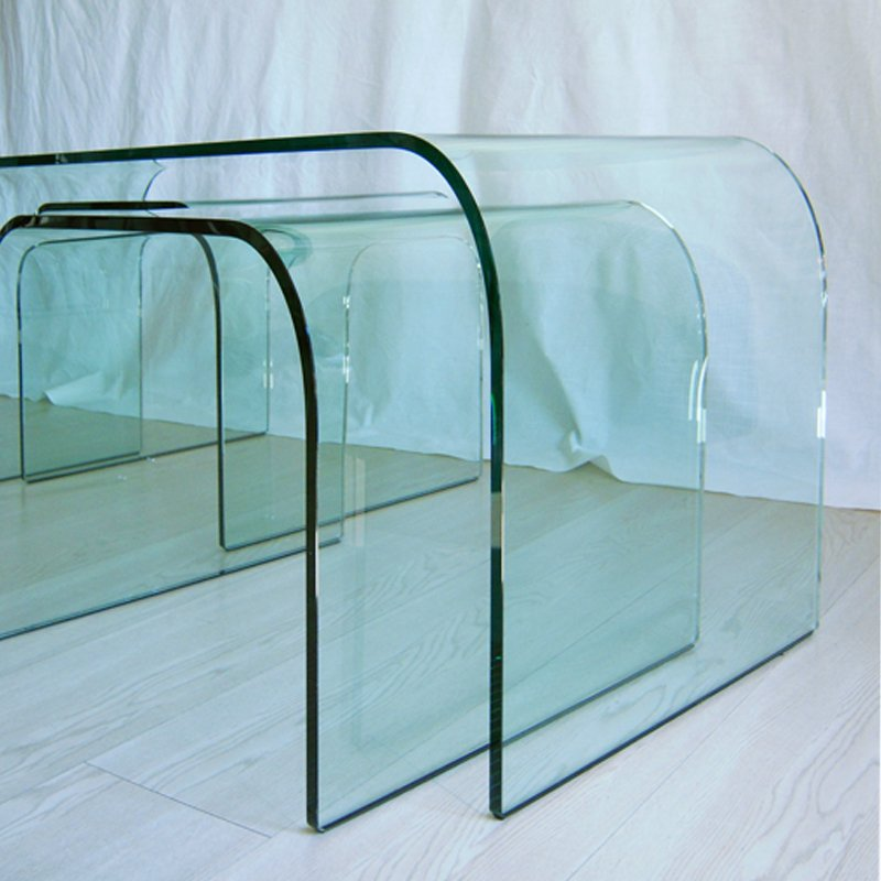 Vintage Large Curved Glass Center Tables From Fiam, Set Of 3