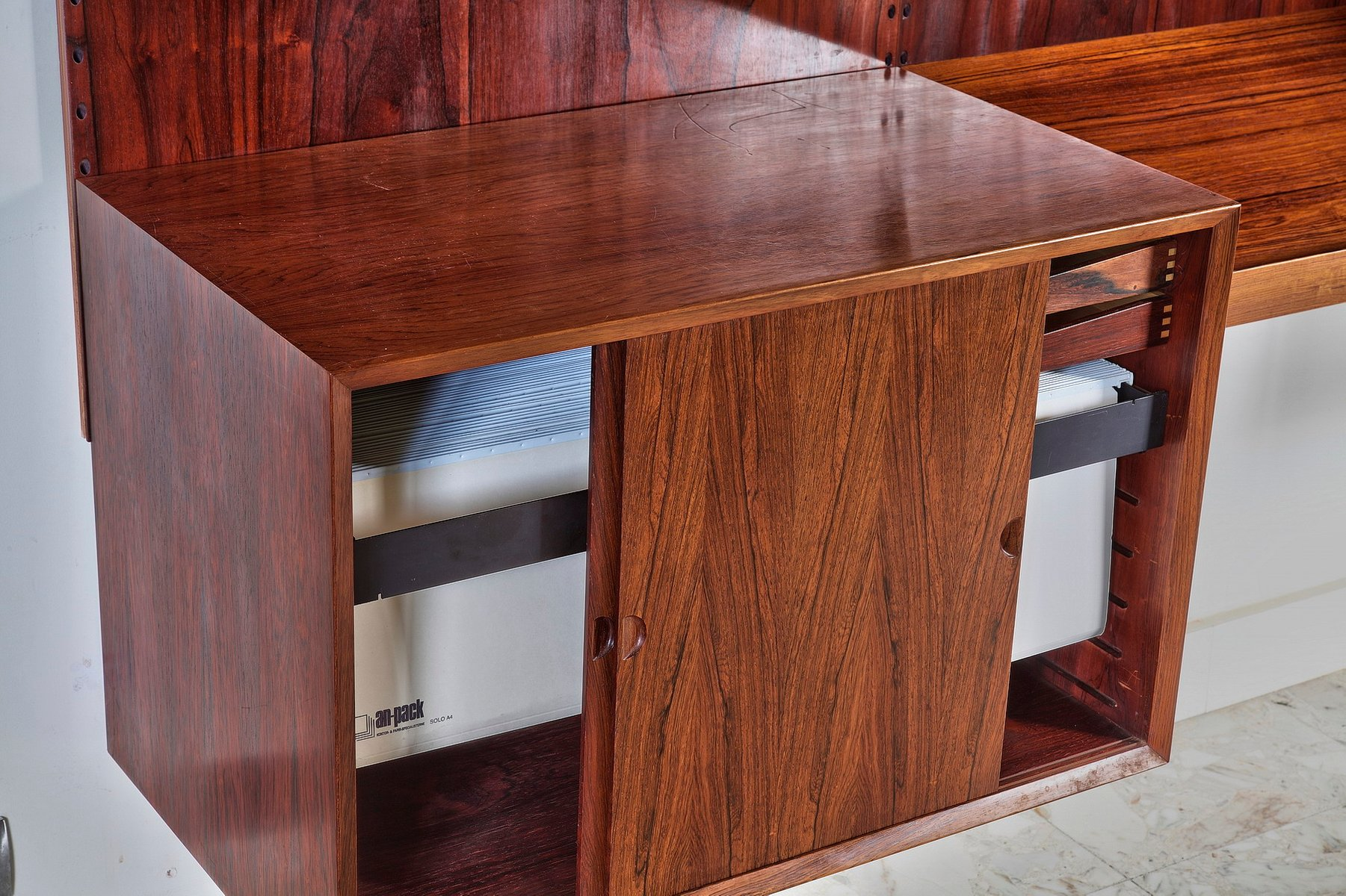 Mid Century Danish Brazilian Rosewood Wall Unit By Poul Cadovius, 1970s