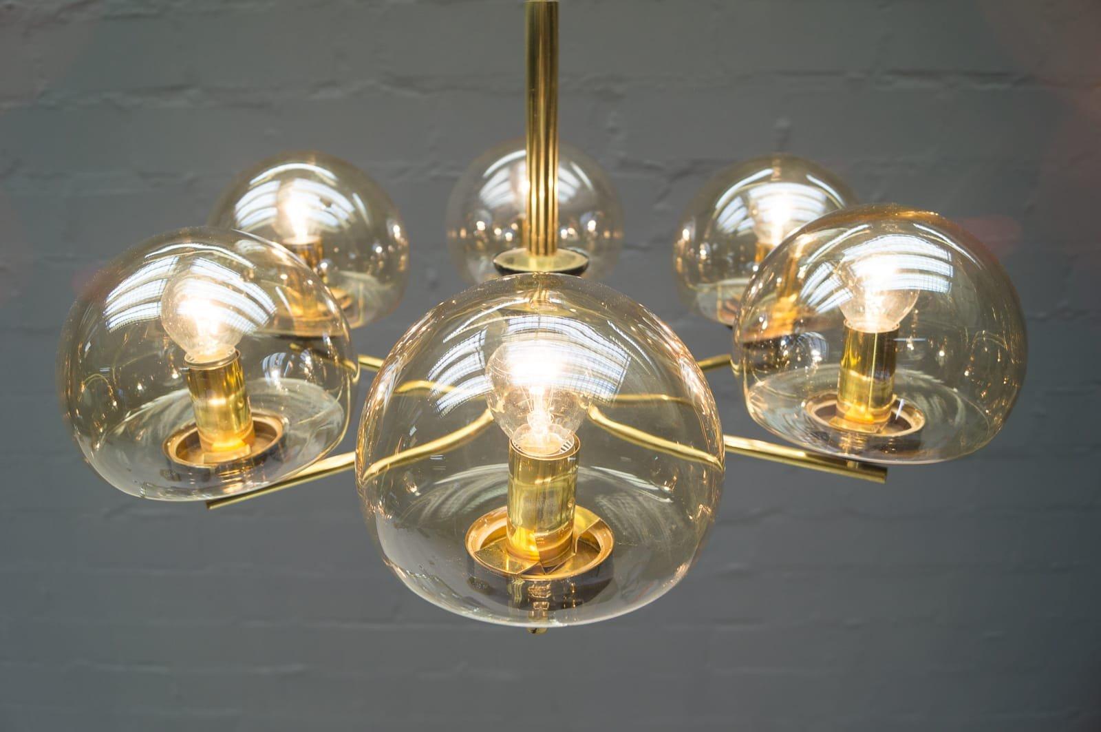 Italienische h ngelampe mit 6 leuchten aus rauchglas for Italienische leuchten