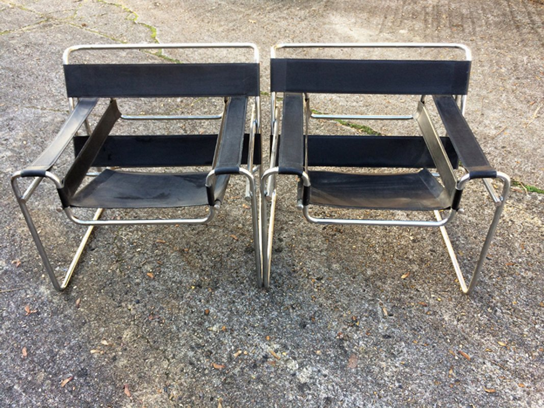 Bauhaus b3 wassily chairs by marcel breuer set of 2 for for Couchtisch 2er set