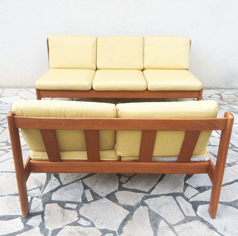 banc deux places scandinave en teck 1960s en vente sur pamono. Black Bedroom Furniture Sets. Home Design Ideas