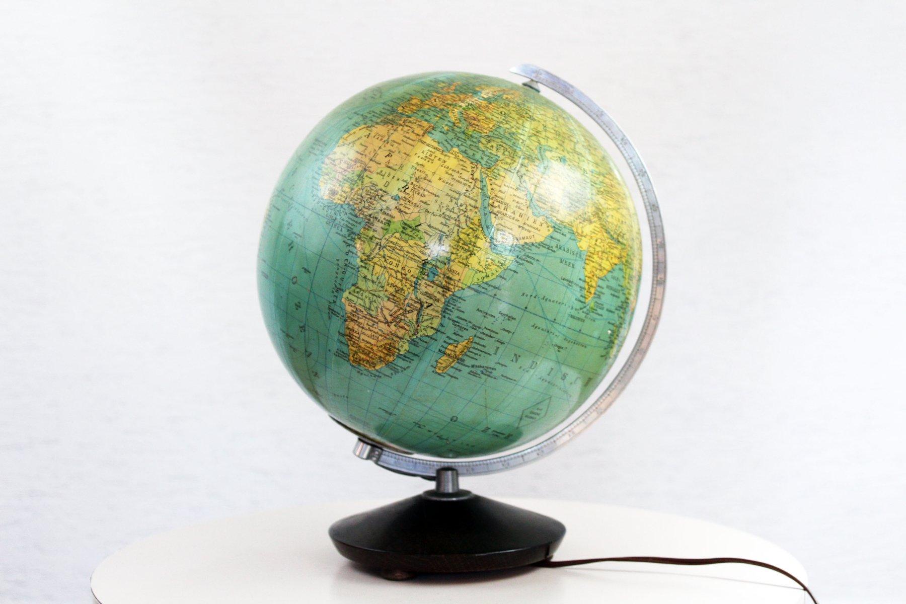 beleuchteter deutscher vintage globus aus glas bei pamono. Black Bedroom Furniture Sets. Home Design Ideas