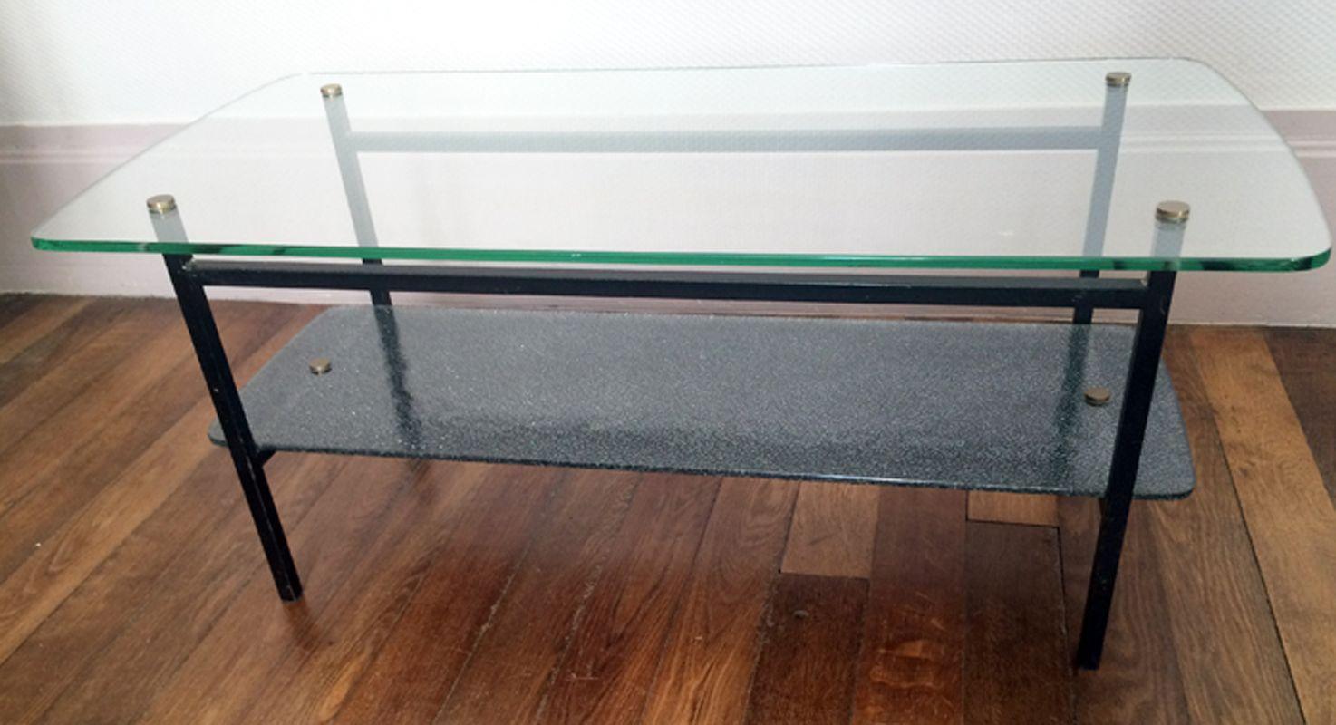 moderner glas metall couchtisch 1950er bei pamono kaufen. Black Bedroom Furniture Sets. Home Design Ideas