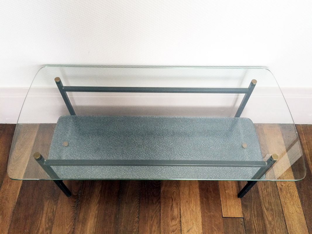 Moderner glas metall couchtisch 1950er bei pamono kaufen for Couchtisch metall glas