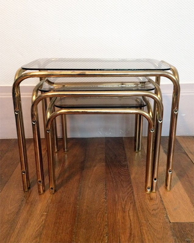 Chrome Smoked Glass Nesting Tables 1970s For Sale At Pamono