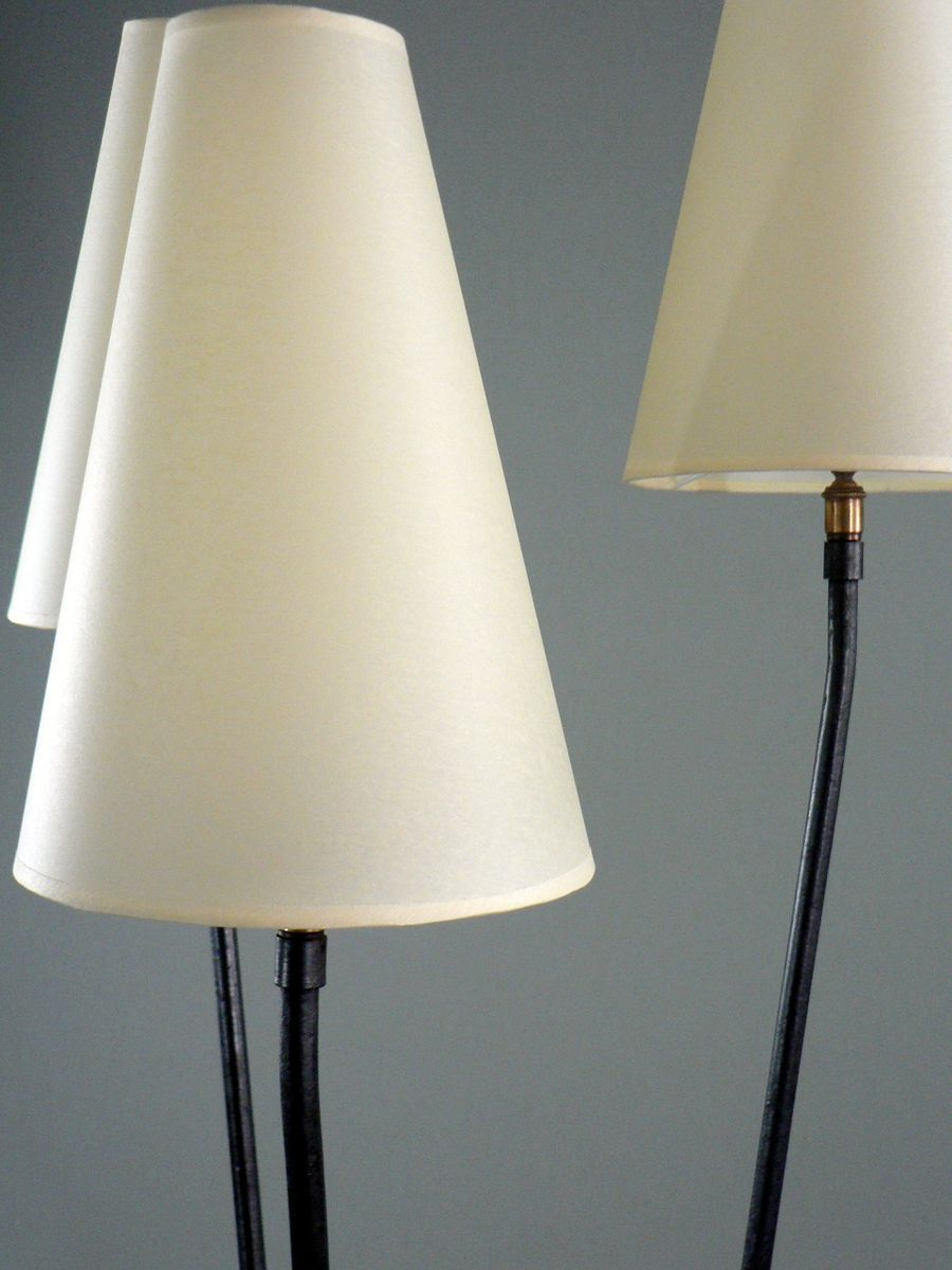 franz sische stehlampe mit drei leuchten 1950er bei pamono kaufen. Black Bedroom Furniture Sets. Home Design Ideas