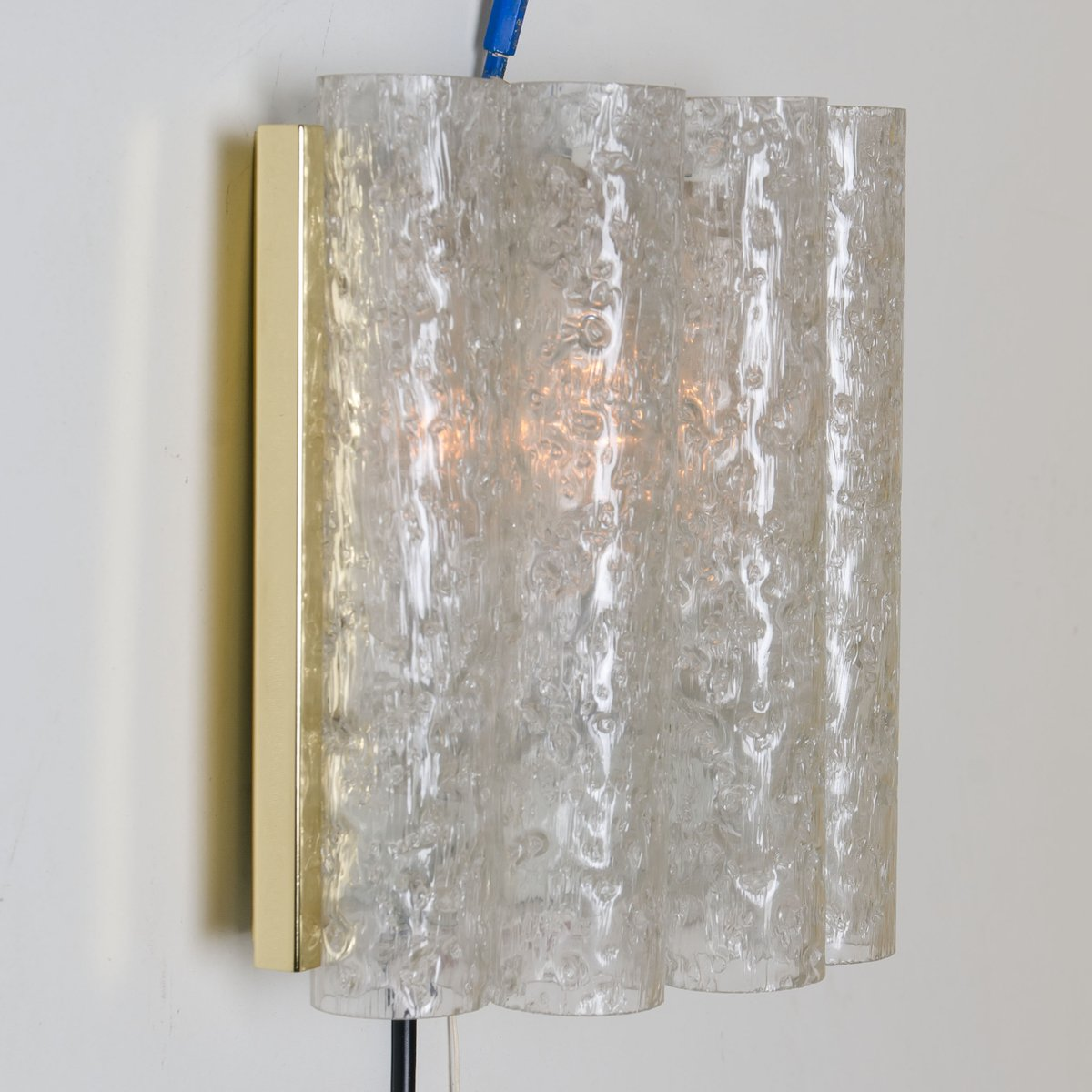 Wall Lamps Brass : Brass and Glass Wall Lamps from Doria, 1970s, Set of 2 for sale at Pamono