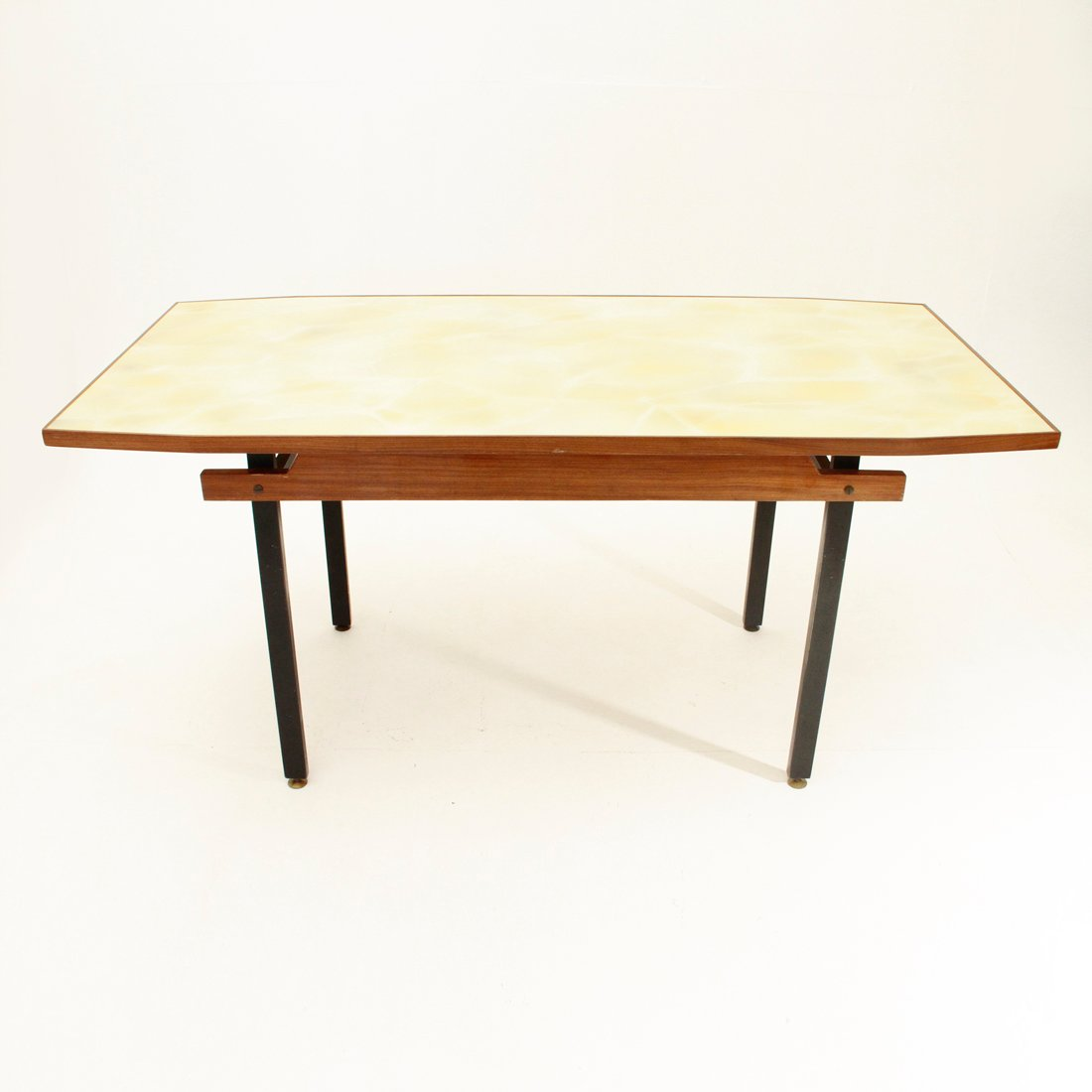 Italian dining table with yellow glass top 1960s for sale for Italian dining table