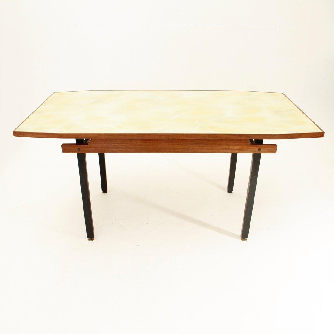 italienischer esstisch mit gelber tischplatte aus glas. Black Bedroom Furniture Sets. Home Design Ideas