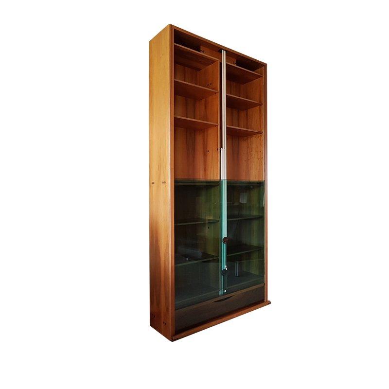grande biblioth que vintage en noyer verre vert par. Black Bedroom Furniture Sets. Home Design Ideas