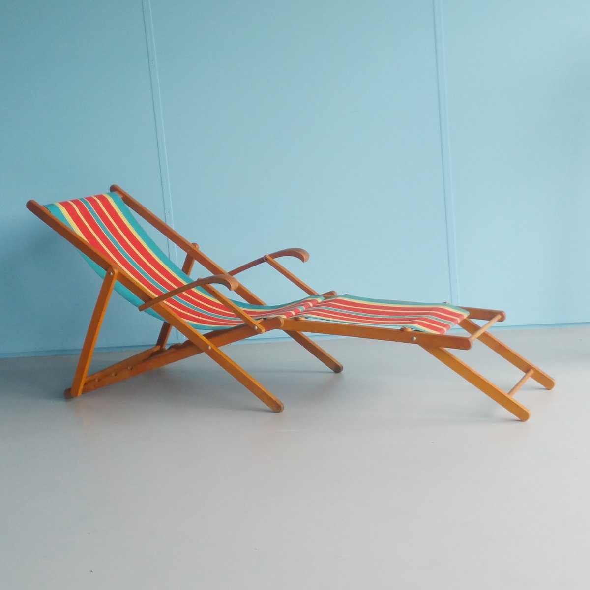 Vintage Folding Wooden Beach Chair 1960s For Sale At Pamono